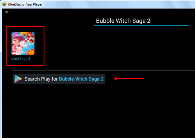 search bubble witch saga 2 in bluestacks