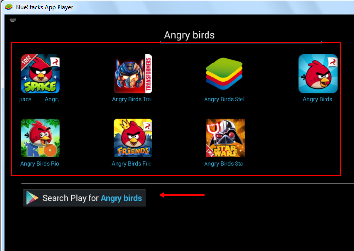angry birds in bluestacks