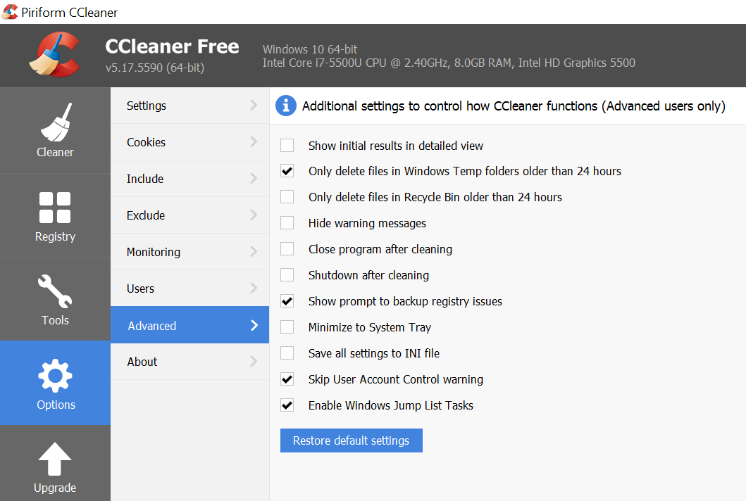 options in ccleaner for windows 10