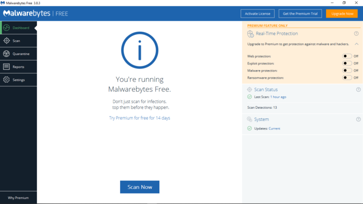 Malware Bytes UI on Windows 10 OS