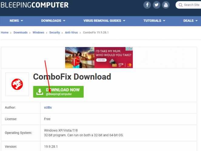 Download Combofix from Bleeping Computer