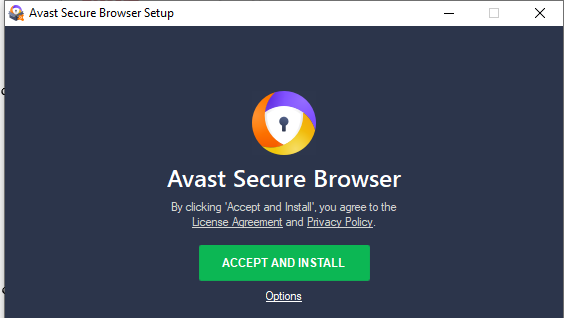 Accepting of terms and conditions of installing Avast
