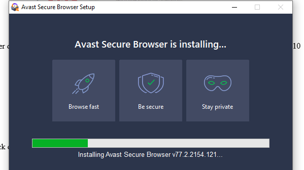 Avast Secure Browser is Installing